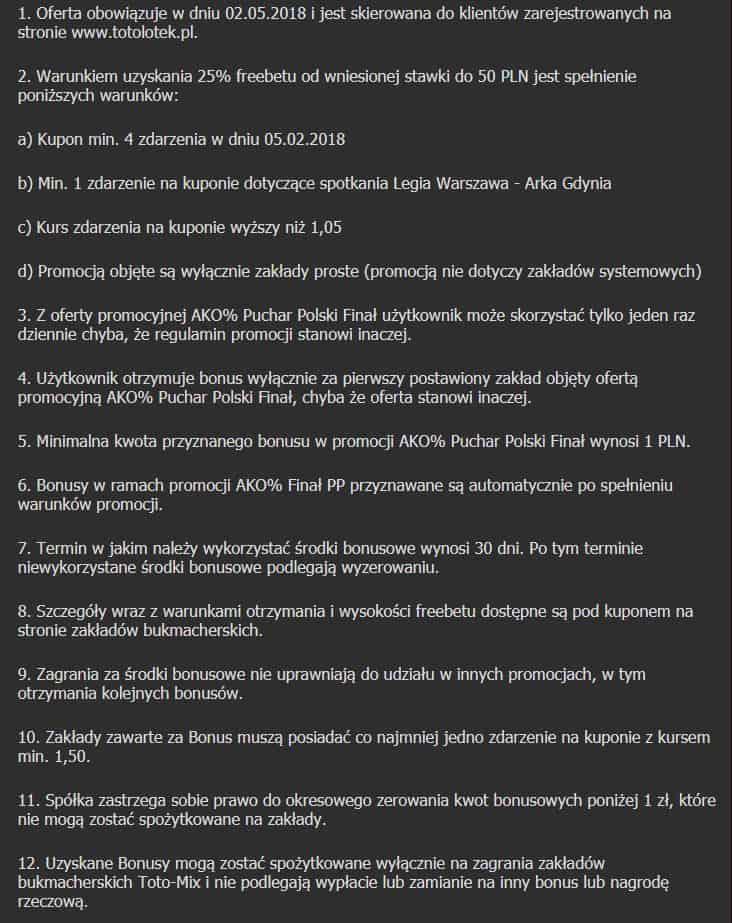 Regulamin promocji AKO na finał PP 2018