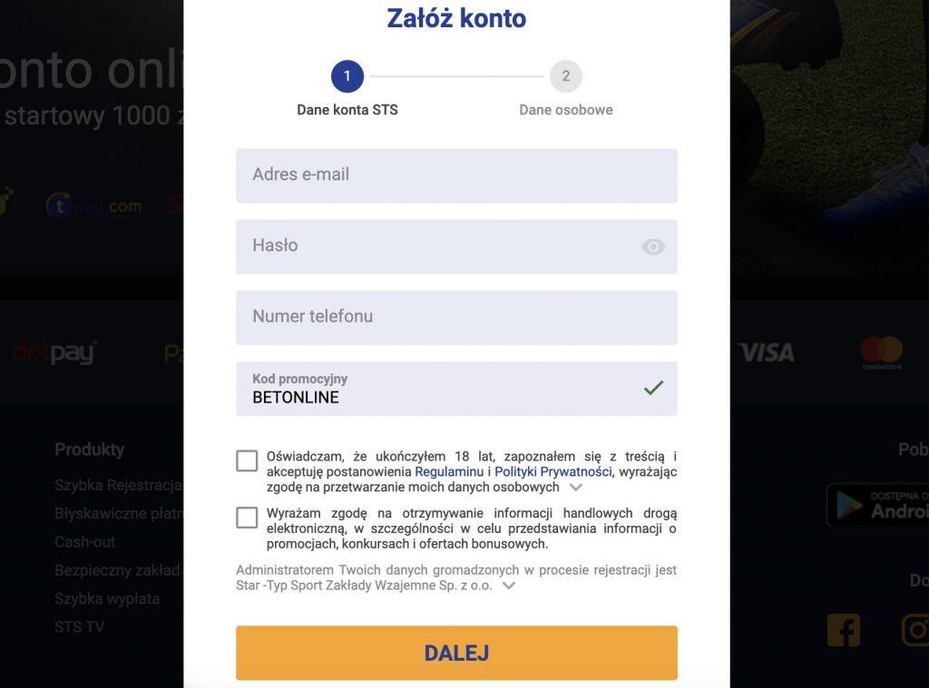 kod promocyjny na bonus bez wpłaty (STS.pl)